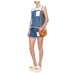 NEW House of Holland Patchwork Frayed Denim Top
